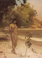 Iracema (detalhe), retratada por J.M. Medeiros em óleo de 1881