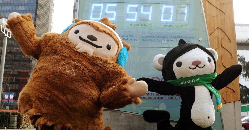 Mascotes dos jogos olímpicos de inverno, em Vancouver, preparam a contagem regressiva para a abertura dos jogos