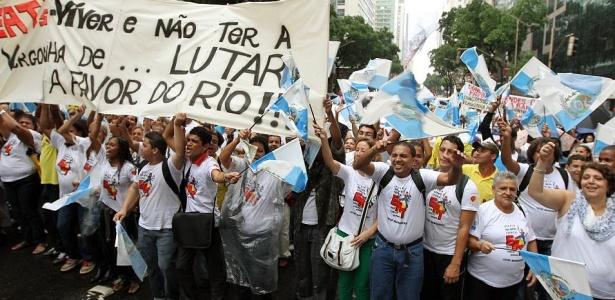 Cariocas protestam contra a Emenda Ibsen, que visa a modificação da distribuição de royalties do pré-sal e desfavorece Estados produtores