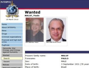 Site cita Maluf como procurado por fraude e  roubo