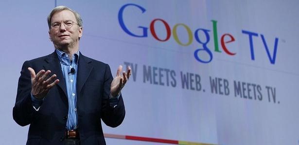 Eric Schmidt apresenta Google TV durante o Google I/O, evento para desenvolvedores
