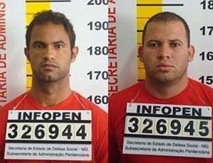 Foto mostra Bruno (esq.) e Macarrão fichados pela Polícia Civil de Minas Gerais
