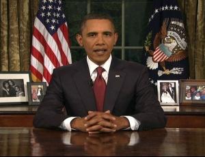 No salão oval da Casa Branca, Obama anunciou o fim da guerra do Iraque. que durou mais de sete anos