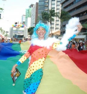 Participante do desfile da Parada Gay organizada pelo movimento LGBT de Pernambuco, na Avenida Boa Viagem, no Recife