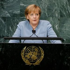 Angela Merkel, chanceler alemã, discursa na sede da ONU em Nova York em 21.09.2010