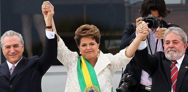 Temer, Dilma e Lula em 2011, quando a petista assumiu a presidência