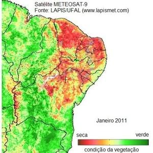 Imagem de satélite mostra os locais que mais sofrem com a seca no Nordeste em janeiro de 2011