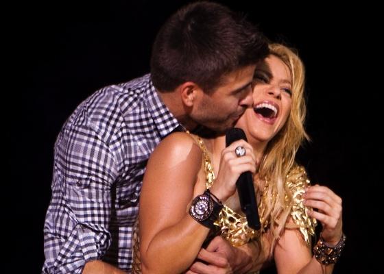 Shakira e Piqué na comemoração do título da Liga dos Campeões 2010/11