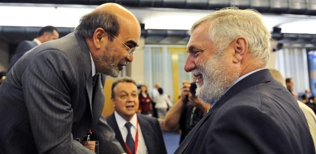 José Graziano da Silva (à esquerda) e Franz Fischler, da Aústria, que também era candidato ao cargo