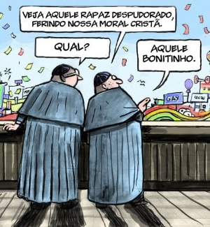 Conversa entre religiosos durante a Parada Gay