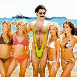 O 'manquíni' ficou conhecido após ser usado pelo ator Sacha Baron Cohen no filme 'Borat'