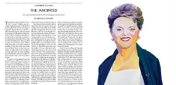 """Reprodução das duas primeiras páginas da matéria da """"New Yorker"""" sobre a presidente Dilma"""