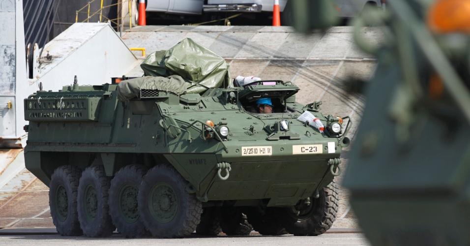 Veículo do Exército norte-americano participa de treinamento anual em Busan, na Coreia do Sul
