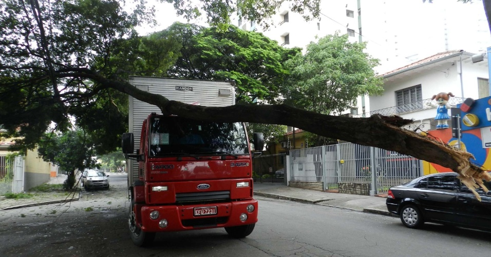 Um galho de uma árvore de grandes porte caiu em cima de caminhão na manhã de hoje, na praça Coernélia, que fica na Lapa, zona oeste de São Paulo. Não há informações de vítimas e uma parte da fiação elétrica no local foi danificada