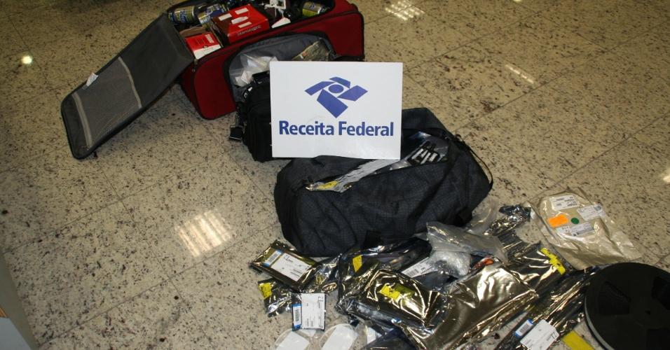 Receita Federal apreendeu no Aeroporto Internacional de Viracopos, em Campinas (SP), 39 malas de 1,1 tonelada vindas de Lisboa (Portugal)