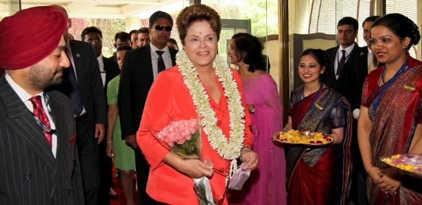 A presidente Dilma Rousseff desembarca em Nova Déli, na Índia