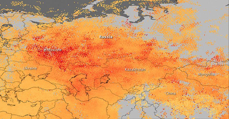 Mapa dos incêndios na Rússia