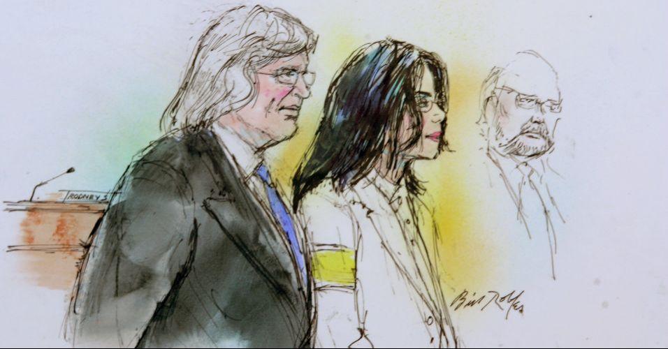 O cantor Michael Jackson durante julgamento em 2005, ao lado de seus advogados, Thomas Mesereau Jr. e Robert M. Sanger, na Suprema Corte da Califórnia. Na época, o cantor era acusado de abusar sexualmente de um menor