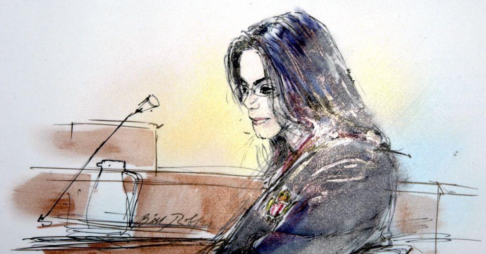 O cantor Michael Jackson durante julgamento em 2005, na Suprema Corte da Califórnia, no qual era acusado de abusar sexualmente de um menor