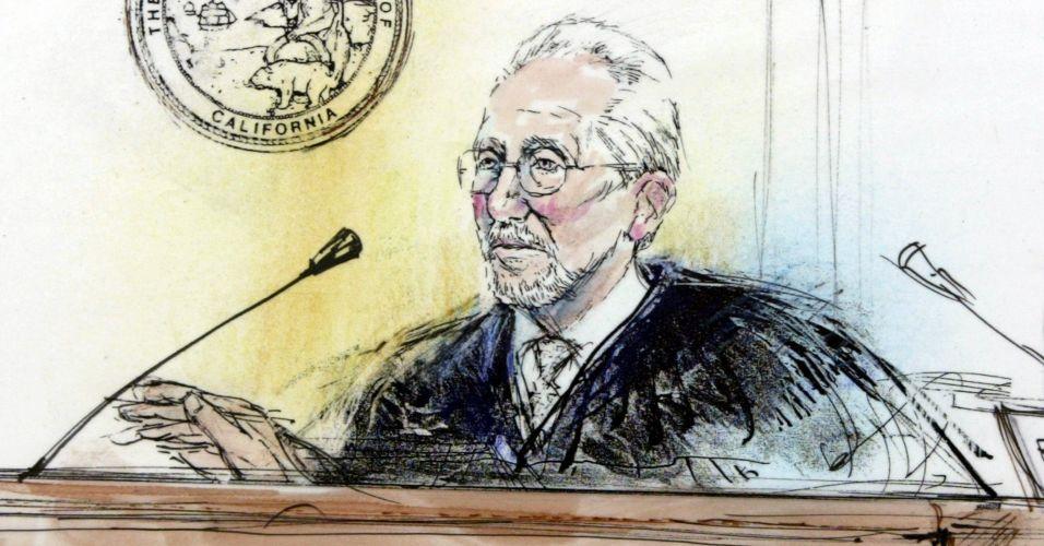 O juiz Rodney Melville durante julgamento do cantor Michael Jackson, acusado de molestar sexualmente um menino de 13 anos, na Suprema Corte da Califórnia, em 31 de janeiro de 2005