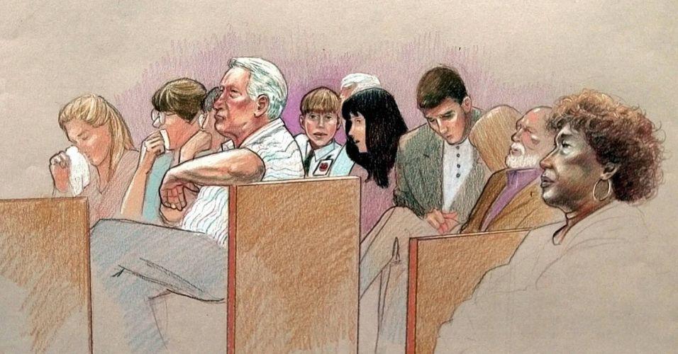 Público acompanha o julgamento do cantor Michael Jackson, acusado de molestar sexualmente um menino de 13 anos, na Suprema Corte da Califórnia, em 31 de janeiro de 2005