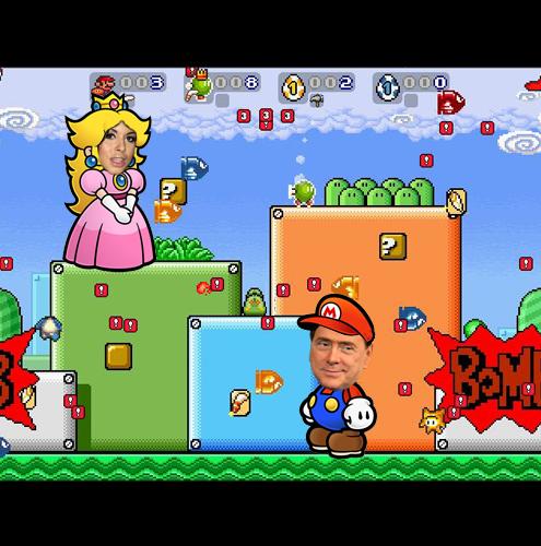 O JOGOSuper MarioA REALIDADEBerlusconi e as mulheresA ADAPTAÇÃOA missão de Mario é resgatar sua princesa no jogo original. Nesta adaptação, o Super Mario ganharia as características do premiê italiano Silvio Berlusconi. Isso quer dizer que a busca do