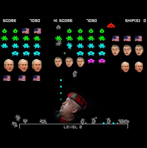 O JOGOSpace InvaderA REALIDADEA língua afiada de Hugo Chávez A ADAPTAÇÃOO líder venezuelano é do tipo que não leva desaforo para casa nem faz questão de sorrir a quem não agrada. Como a nave espacial de