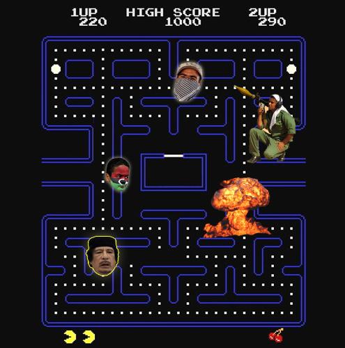 O JOGO PacmanA REALIDADEGaddafi e a crise na LíbiaA ADAPTAÇÃOO Pacman tem a difícil tarefa de comer todas as bolinhas de um labirinto enquanto é perseguido por seus inimigos que podem matá-lo. Se o labirinto se chamasse Líbia, o Pacman seria o ditador Muammar Gaddafi. O