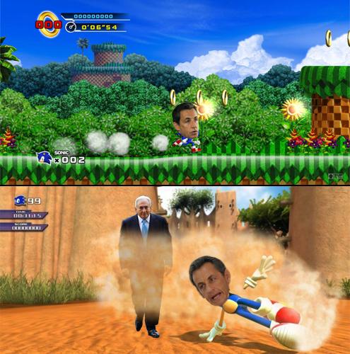 O JOGOSonicA REALIDADEO hiperativo Nicolas SarkozyA ADAPTAÇÃOSonic tem como característica a sua velocidade. Ele é um personagem hiperativo para defender o seu território. O presidente francês Nicolas Sarkozy também tem sua porção Sonic. Sarkozy tem estilo hiperativo para mostrar que é um
