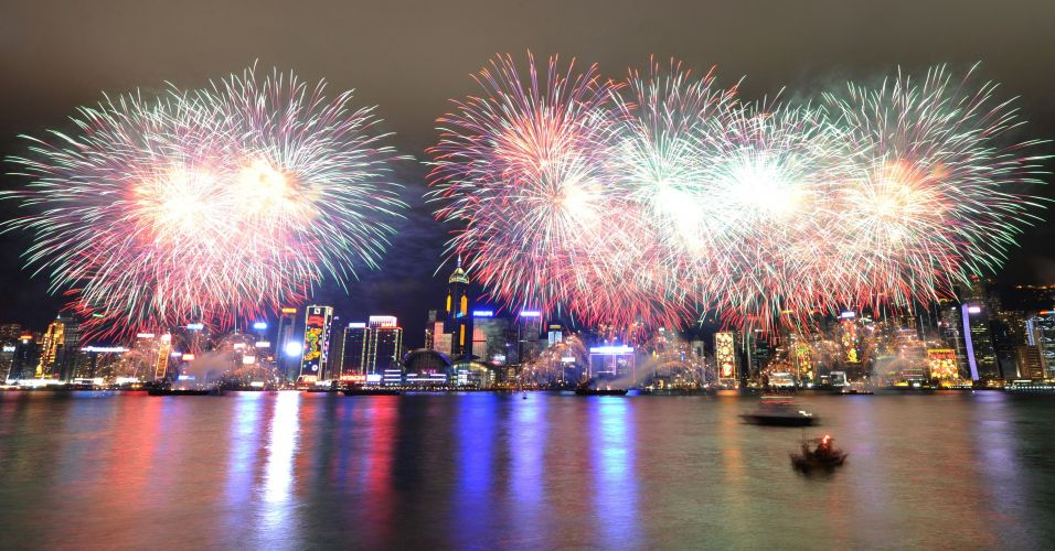Fogos sobre Hong Kong