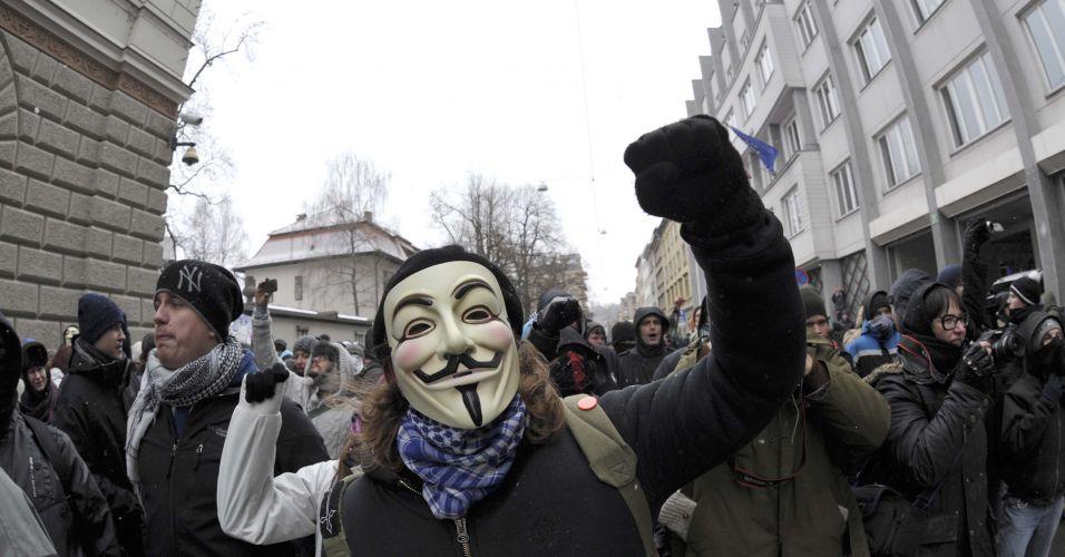 Manifestação em Liubliana