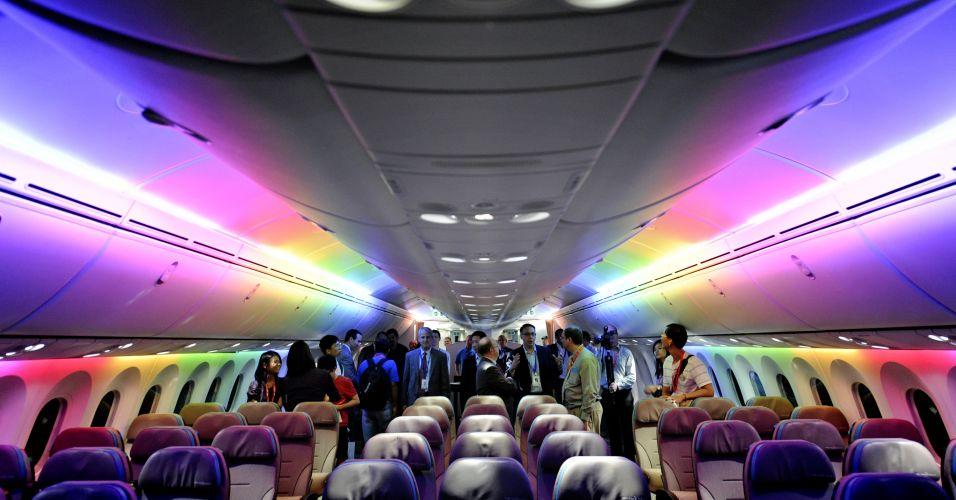 Cabine de avião com LED