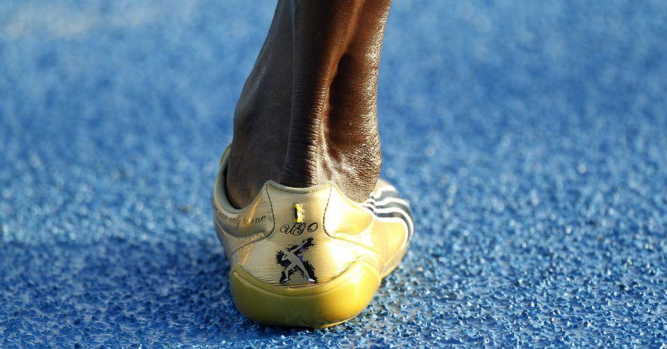 Perna do atleta Usain Bolt, da Jamaica, é vista durante sessão de treinos na Vila dos Atletas, no Campeonato Mundial de Atletismo (IAAF), em Daegu, na Coreia do Sul