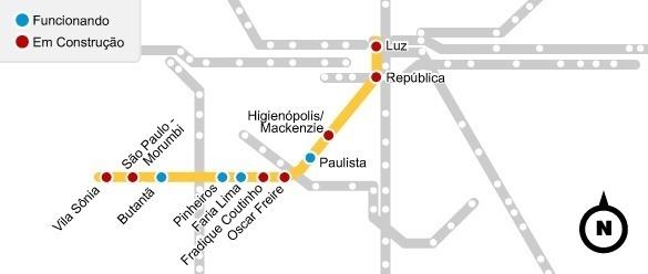 estações da linha amarela do metrô de São Paulo