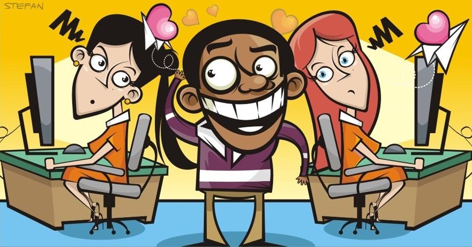 Ilustração para matéria de Empregos sobre namoro no trabalho (gafes imperdoáveis)