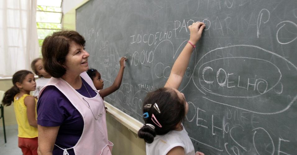 Professora, aula, lousa, emprego, criança, ensino