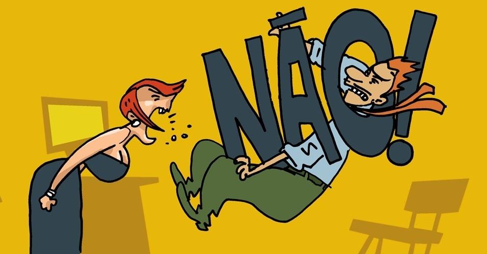 """1) Diga """"não"""" claramente ao assediador. Cartilha do Ministério do Trabalho e Emprego recomenda que a vítima deixe bem claro que não aceita a conduta do assediador"""