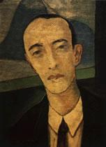 Retrato de Murilo Mendes, <br>pelo pintor Guignard, <br>seu contemporâneo