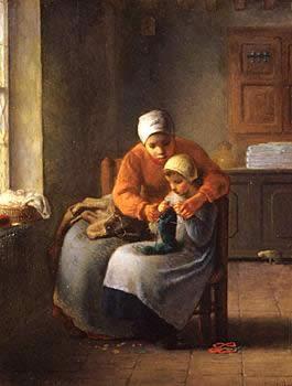 Lição de tricô de Millet