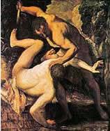 Detalhe de quadro do pintor renascentista italiano Tintoretto mostra o assassinato de Abel