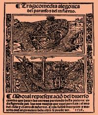 Reprodução - ilustração da edição original da peça Auto da Barca do Inferno.