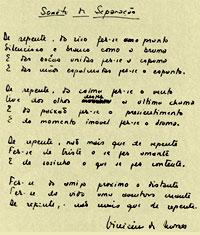 Reprodução - manuscrito de Vinicius de Moraes