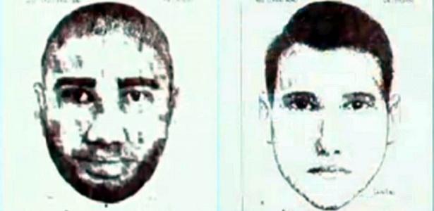 Imagens divulgadas pela polícia do Rio de Janeiro mostram os retratos falados dos suspeitos