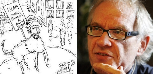 Lars Vilks e sua polêmica caricatura do profeta muçulmano Maomé com corpo de cachorro