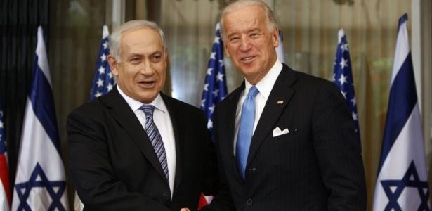 O vice-presidente dos EUA, Joe Biden, durante encontro com o primeiro-ministro de <BR> Israel, Benjamin Netanyahu, durante visita oficial do representante americano ao país