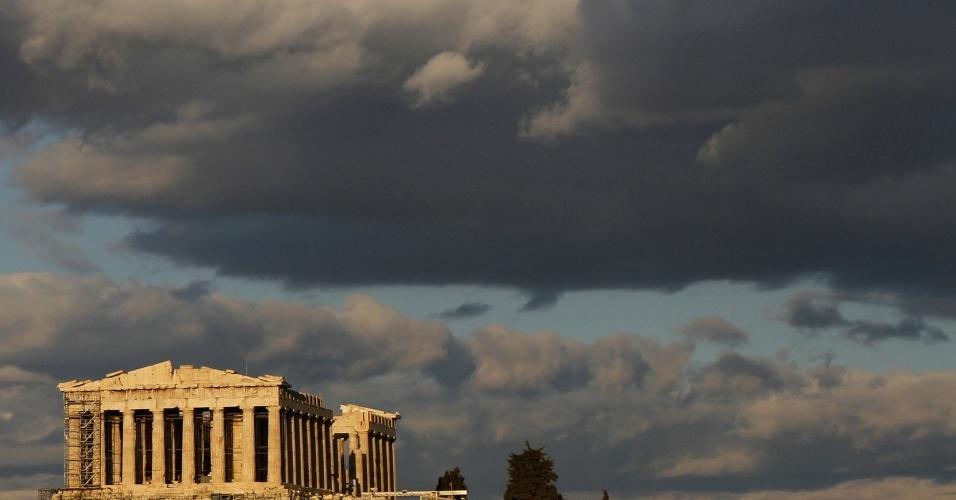 Antigo templo do Partenon, na Acrópolis, em Atenas, Grécia