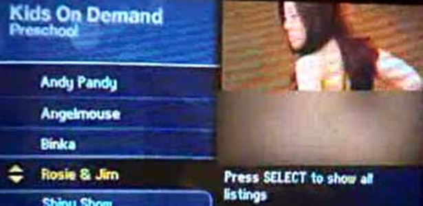 Foto mostra o erro da TV a cabo, que exibiu imagens eróticas em menu de canal infantil