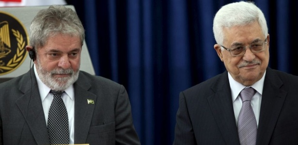 Luiz Inácio Lula da Silva durante encontro com o presidente da ANP, Mahmoud Abbas