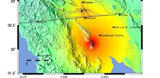 Mapa mostra em vermelho a região do epicentro do tremor na região mexicana da Baixa Califórnia, sentido também nos Estados Unidos