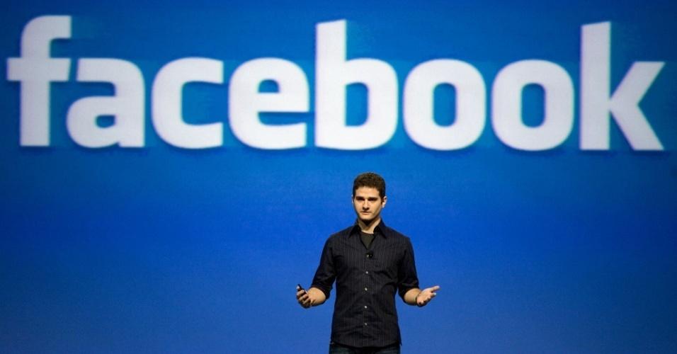 Um dos fundadores do site de relacionamento Facebook, Dustin Moskovitz, fala em evento, em São Franciso (EUA)
